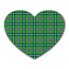 Tartan Fabric Colour Green Heart Mousepads