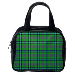 Tartan Fabric Colour Green Classic Handbags (One Side)