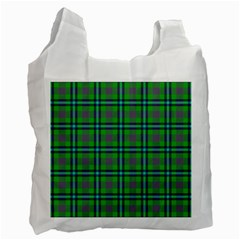 Tartan Fabric Colour Green Recycle Bag (One Side)