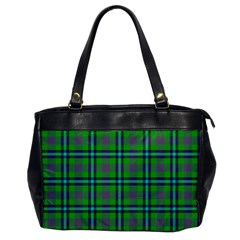 Tartan Fabric Colour Green Office Handbags