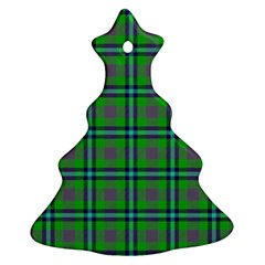 Tartan Fabric Colour Green Christmas Tree Ornament (Two Sides)
