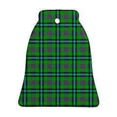 Tartan Fabric Colour Green Bell Ornament (Two Sides)