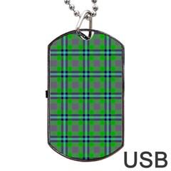 Tartan Fabric Colour Green Dog Tag USB Flash (One Side)