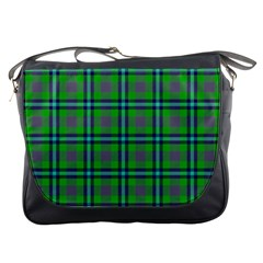 Tartan Fabric Colour Green Messenger Bags