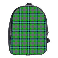 Tartan Fabric Colour Green School Bags (XL)