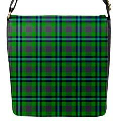 Tartan Fabric Colour Green Flap Messenger Bag (S)
