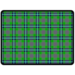 Tartan Fabric Colour Green Double Sided Fleece Blanket (Large)
