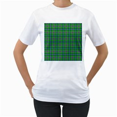 Tartan Fabric Colour Green Women s T-Shirt (White)