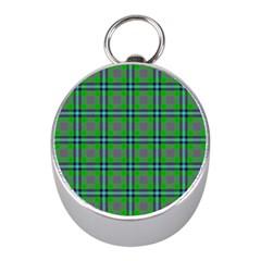 Tartan Fabric Colour Green Mini Silver Compasses