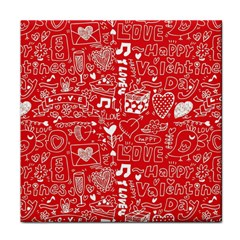 Happy Valentines Love Heart Red Tile Coasters