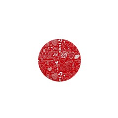 Happy Valentines Love Heart Red 1  Mini Magnets