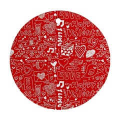 Happy Valentines Love Heart Red Ornament (Round)
