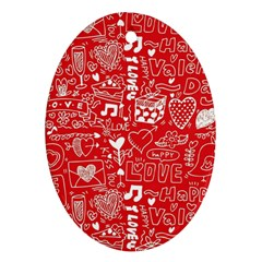 Happy Valentines Love Heart Red Ornament (Oval)