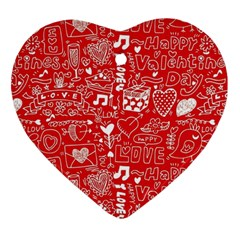 Happy Valentines Love Heart Red Ornament (Heart)