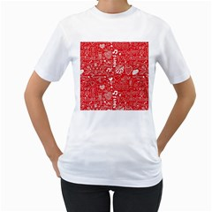 Happy Valentines Love Heart Red Women s T-Shirt (White) (Two Sided)