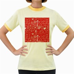 Happy Valentines Love Heart Red Women s Fitted Ringer T Shirts