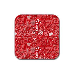 Happy Valentines Love Heart Red Rubber Square Coaster (4 pack)
