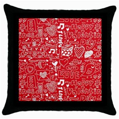 Happy Valentines Love Heart Red Throw Pillow Case (Black)