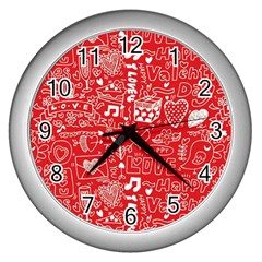 Happy Valentines Love Heart Red Wall Clocks (Silver)