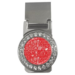 Happy Valentines Love Heart Red Money Clips (CZ)