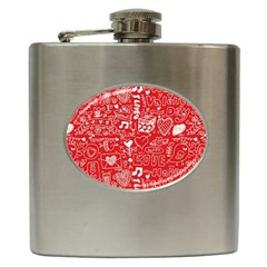 Happy Valentines Love Heart Red Hip Flask (6 oz)