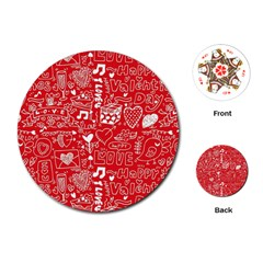 Happy Valentines Love Heart Red Playing Cards (Round)