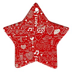 Happy Valentines Love Heart Red Star Ornament (Two Sides)