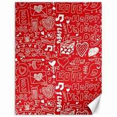 Happy Valentines Love Heart Red Canvas 12  x 16