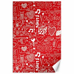Happy Valentines Love Heart Red Canvas 20  x 30