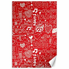 Happy Valentines Love Heart Red Canvas 24  x 36