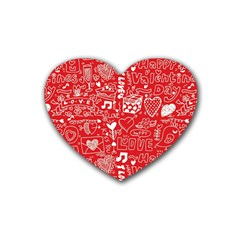 Happy Valentines Love Heart Red Rubber Coaster (Heart)