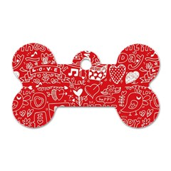 Happy Valentines Love Heart Red Dog Tag Bone (One Side)