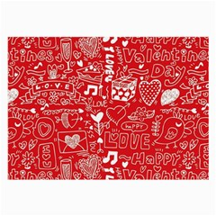 Happy Valentines Love Heart Red Large Glasses Cloth (2-Side)