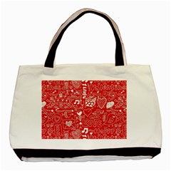 Happy Valentines Love Heart Red Basic Tote Bag (Two Sides)