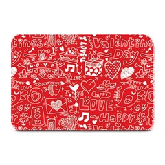 Happy Valentines Love Heart Red Plate Mats
