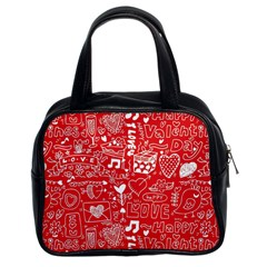 Happy Valentines Love Heart Red Classic Handbags (2 Sides)
