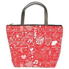 Happy Valentines Love Heart Red Bucket Bags