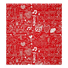 Happy Valentines Love Heart Red Shower Curtain 66  x 72  (Large)
