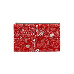 Happy Valentines Love Heart Red Cosmetic Bag (Small)