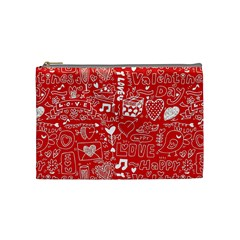 Happy Valentines Love Heart Red Cosmetic Bag (Medium)