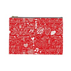 Happy Valentines Love Heart Red Cosmetic Bag (Large)