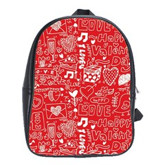 Happy Valentines Love Heart Red School Bags(Large)