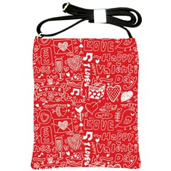 Happy Valentines Love Heart Red Shoulder Sling Bags