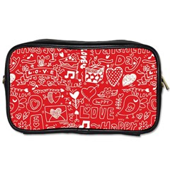 Happy Valentines Love Heart Red Toiletries Bags