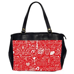 Happy Valentines Love Heart Red Office Handbags (2 Sides)