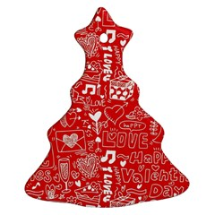 Happy Valentines Love Heart Red Christmas Tree Ornament (Two Sides)