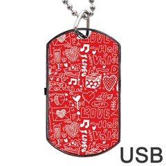 Happy Valentines Love Heart Red Dog Tag USB Flash (One Side)