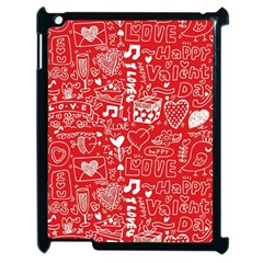 Happy Valentines Love Heart Red Apple iPad 2 Case (Black)