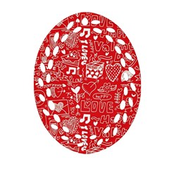 Happy Valentines Love Heart Red Oval Filigree Ornament (Two Sides)
