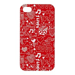 Happy Valentines Love Heart Red Apple iPhone 4/4S Hardshell Case